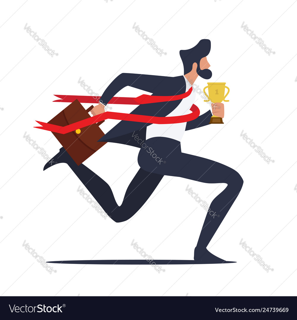 Businessman running to finish line with trophy
