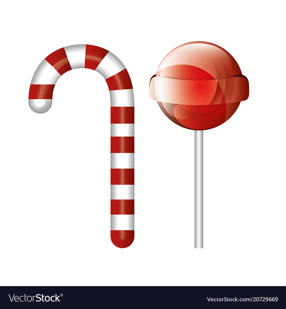 Cartoon Candy Cane And Lollipop Red Isolated Vector Image