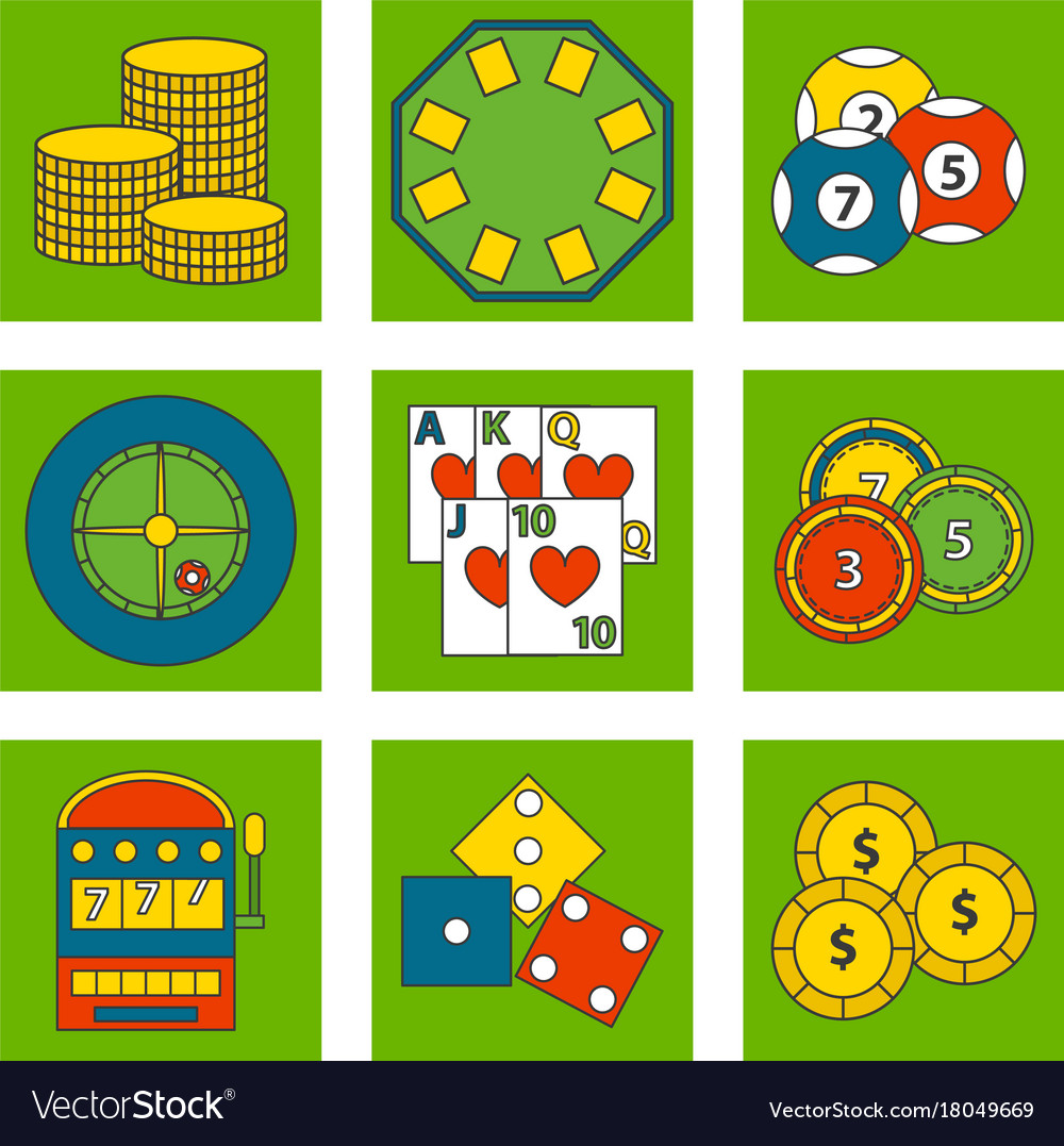 Casino game icons poker gambler symbols blackjack