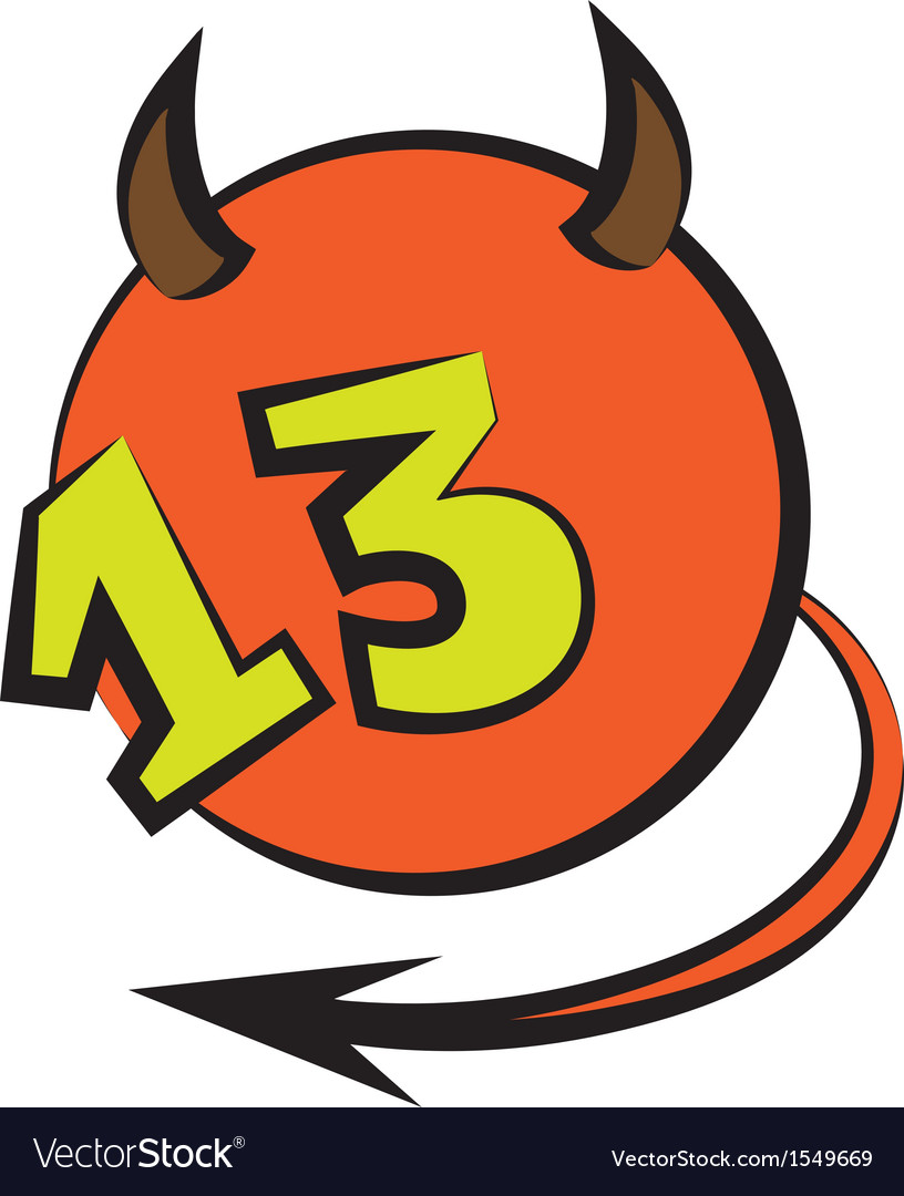 Devilish ball with number thirteen vector image