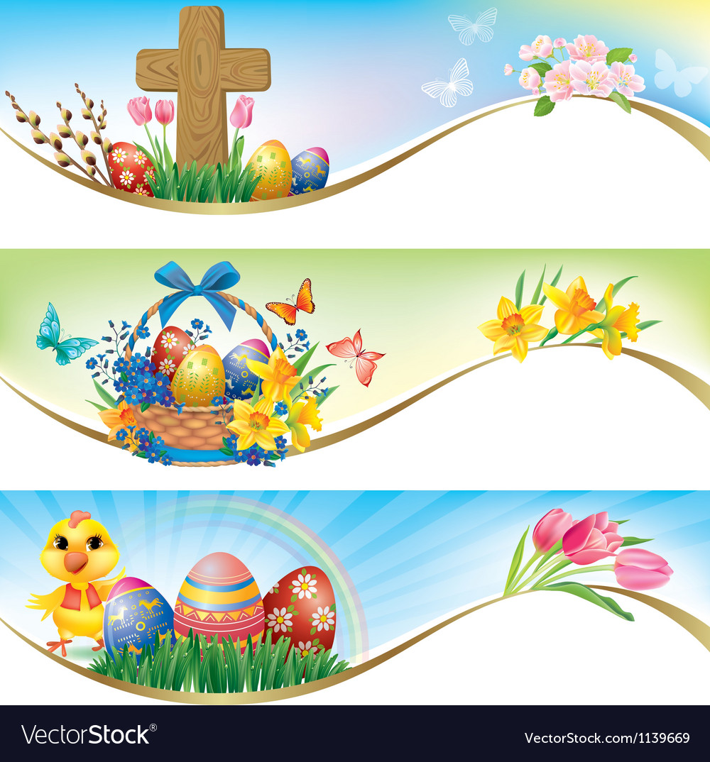 Easter horizontal banners