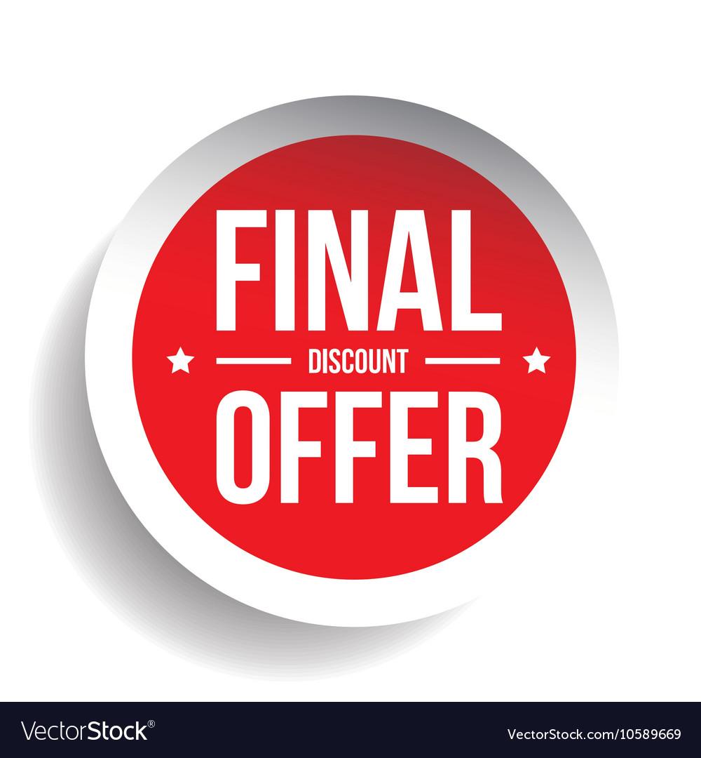 Final Discount Offer Round Label sticker vector image