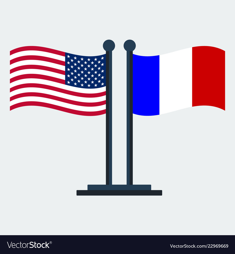 Flag of united states and franceflag stand