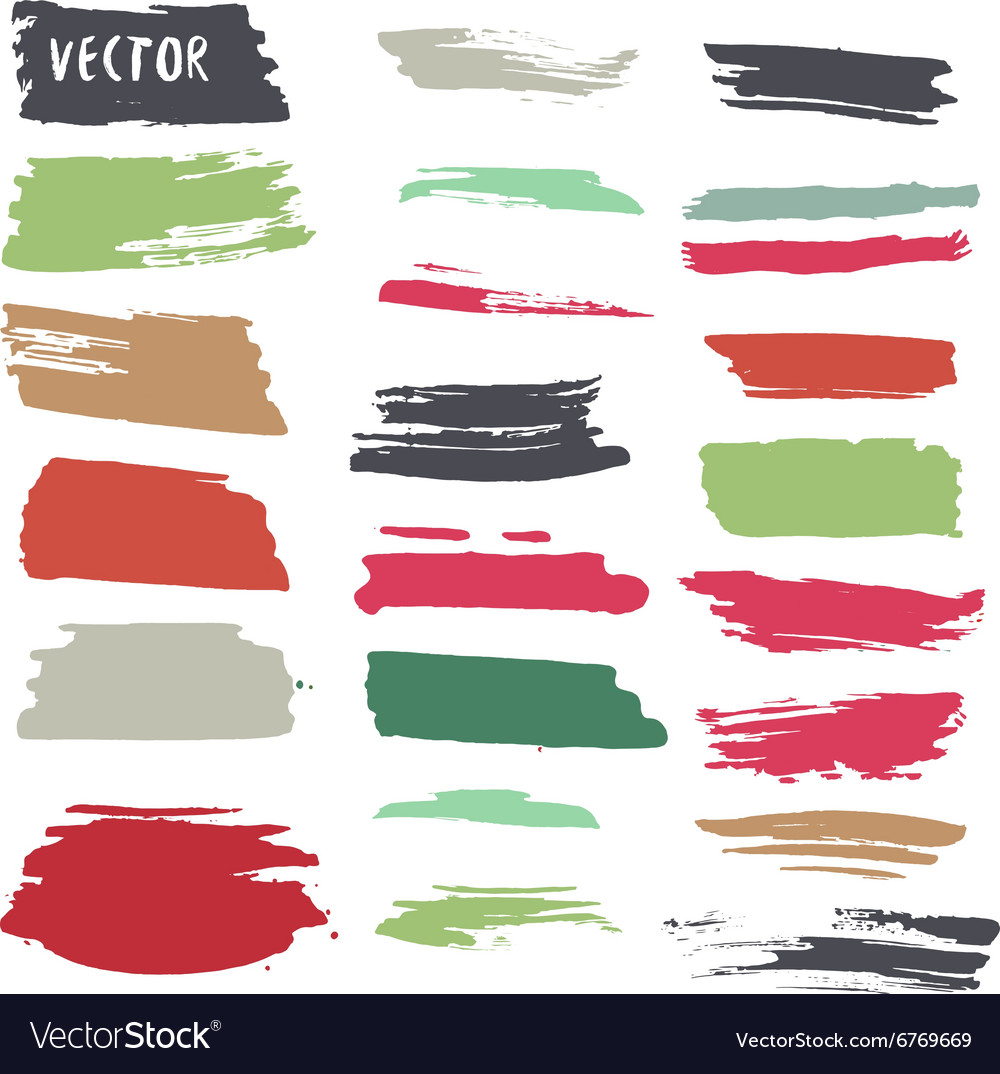 Grunge colorful ink paint strokes design