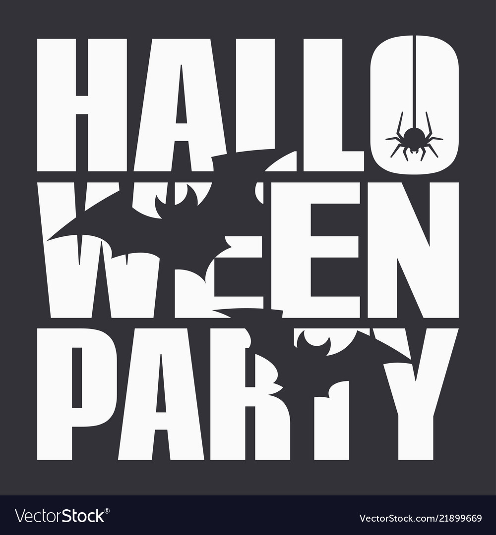 Halloween party night poster on black background