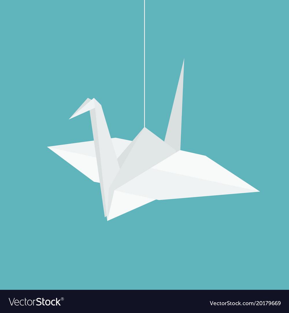 Hanging origami paper cranes in flat design
