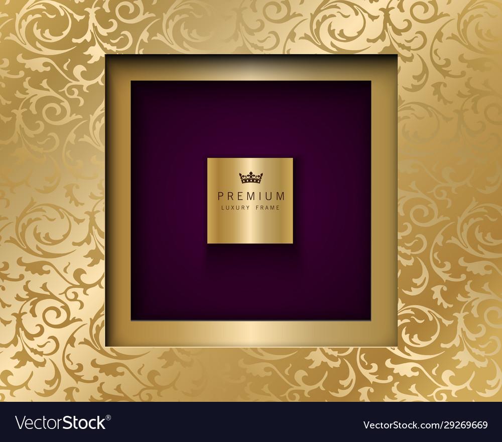 Luxury vintage square frame golden