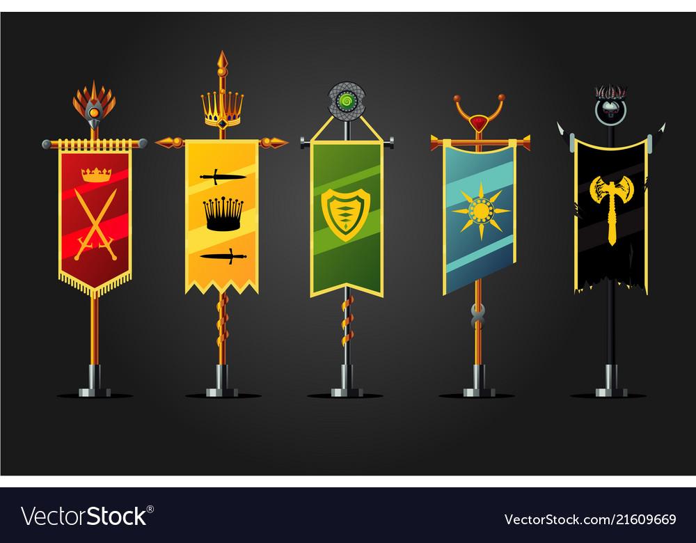 Medieval cartoon flag set insignia game design
