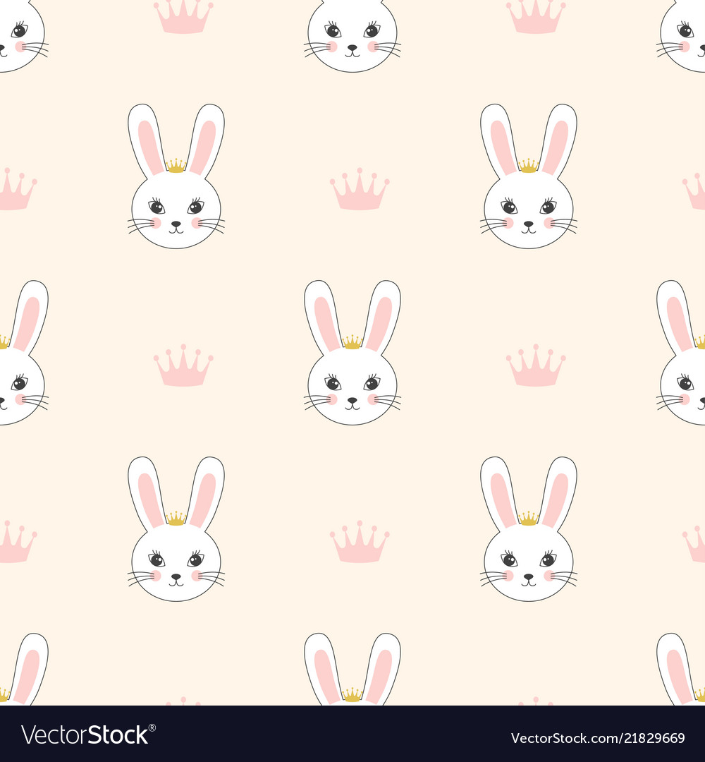 Pattern with bunnies princesses