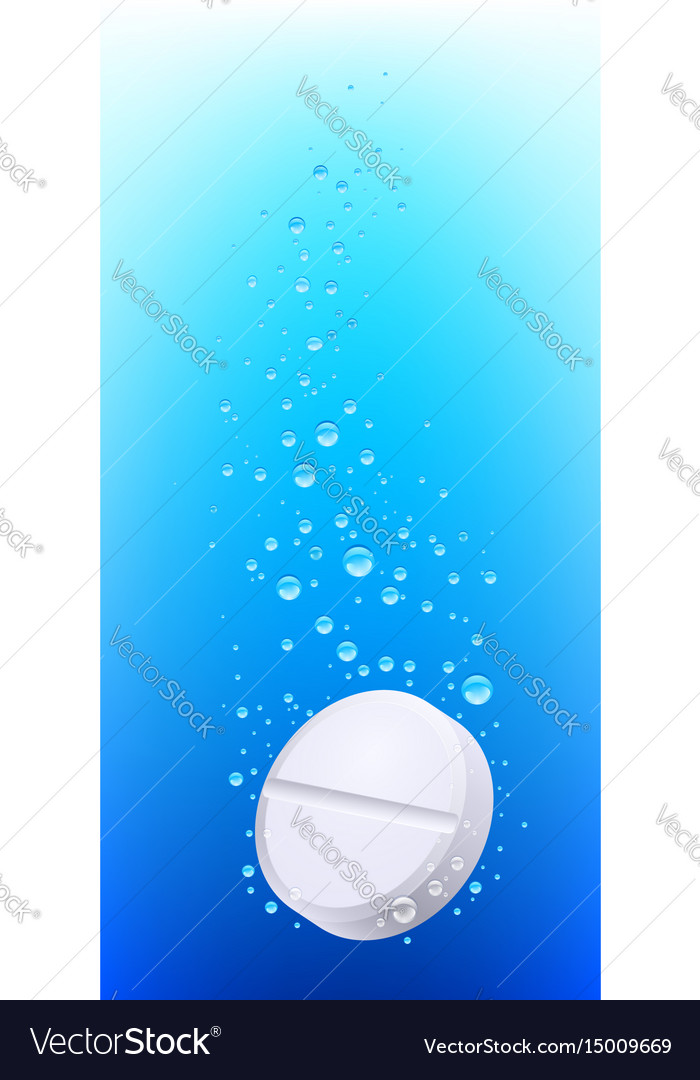 Pill in water on white background