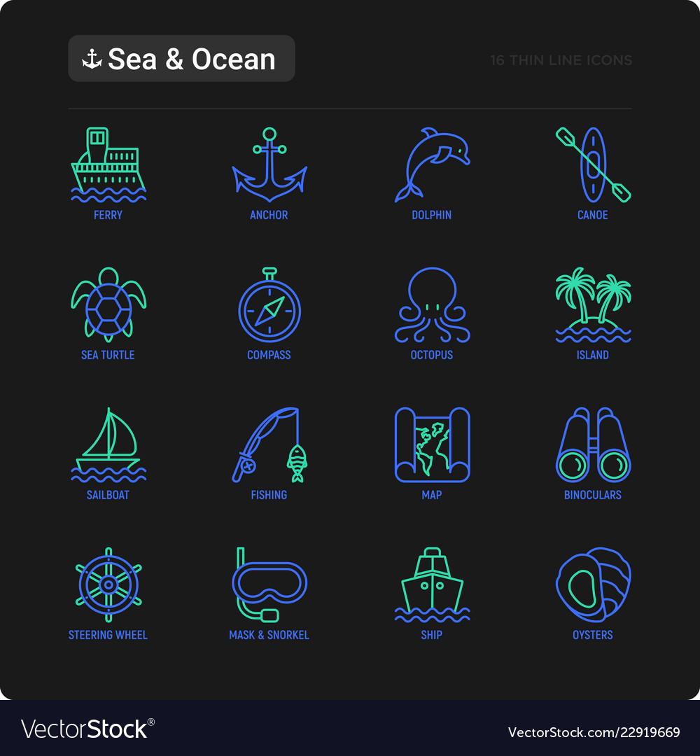 Sea and ocean journey thin line icons set