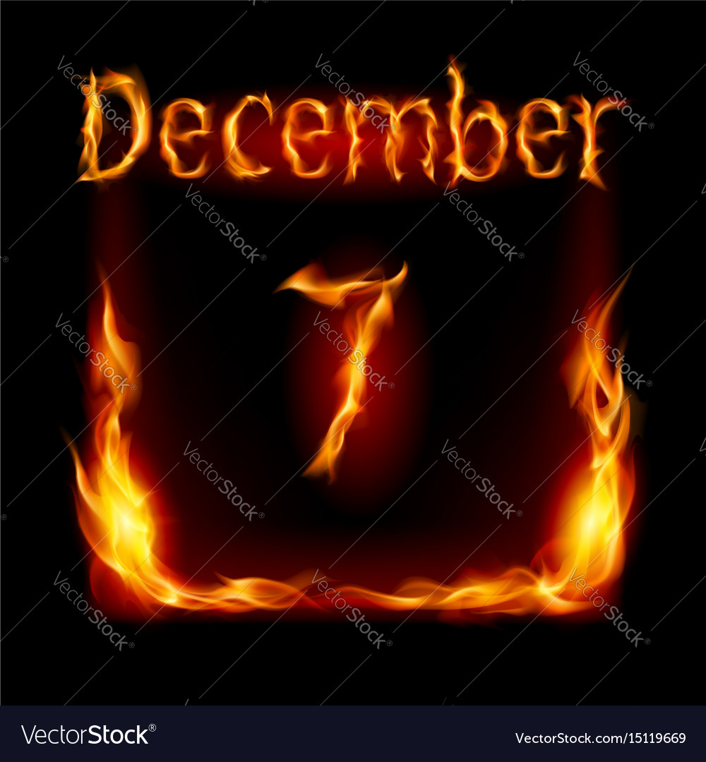 Seventh december in calendar of fire icon on
