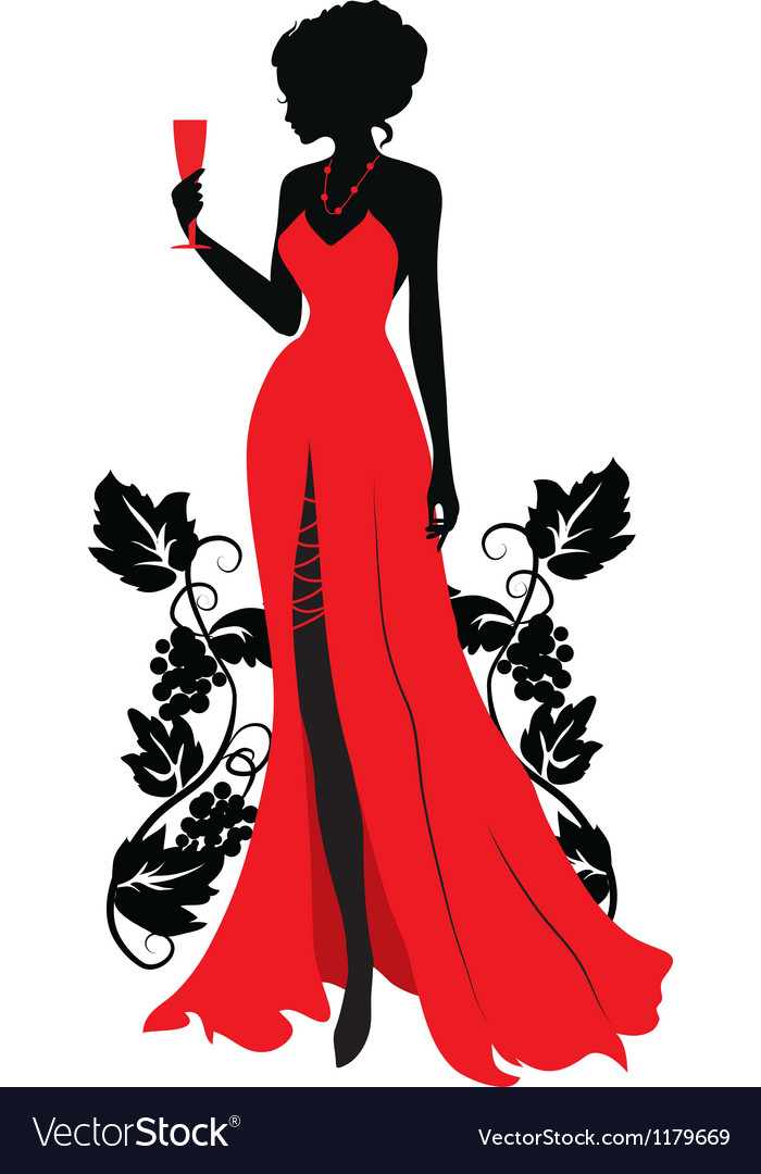 Silhouette of woman with wineglass