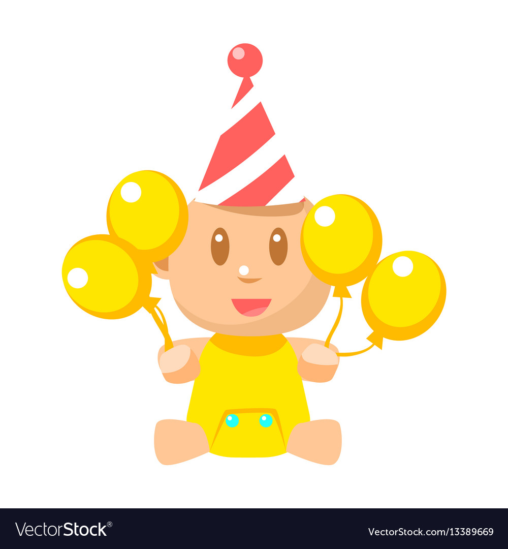 Small happy baby in birthday party hat with yellow