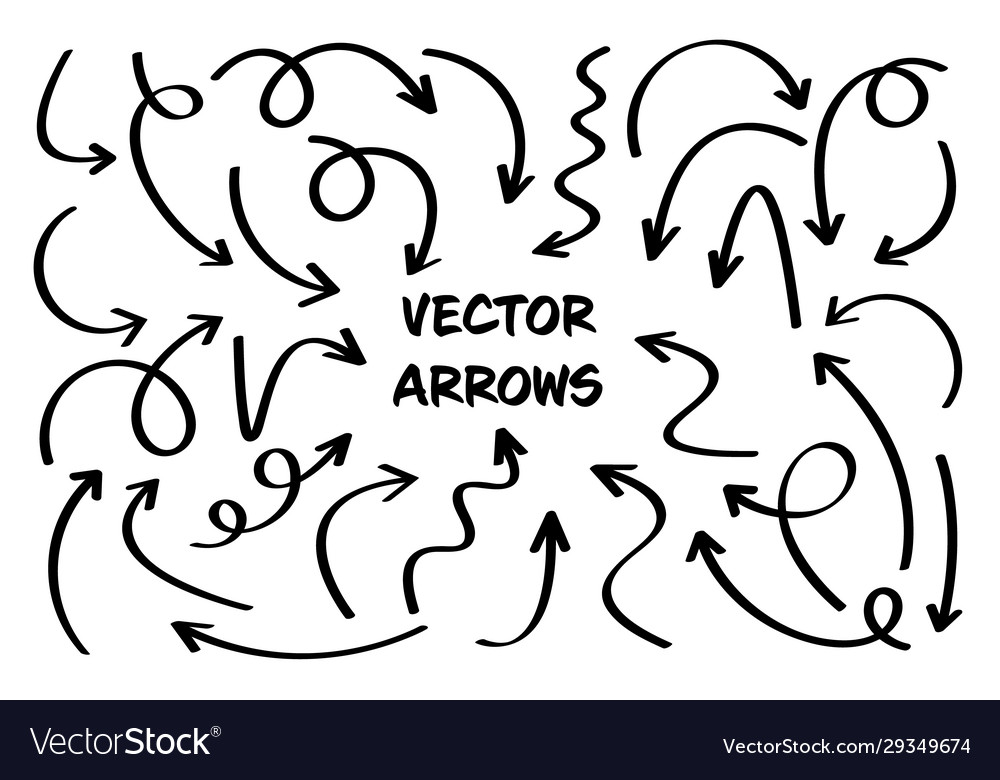 Black hand drawn arrows set on white background
