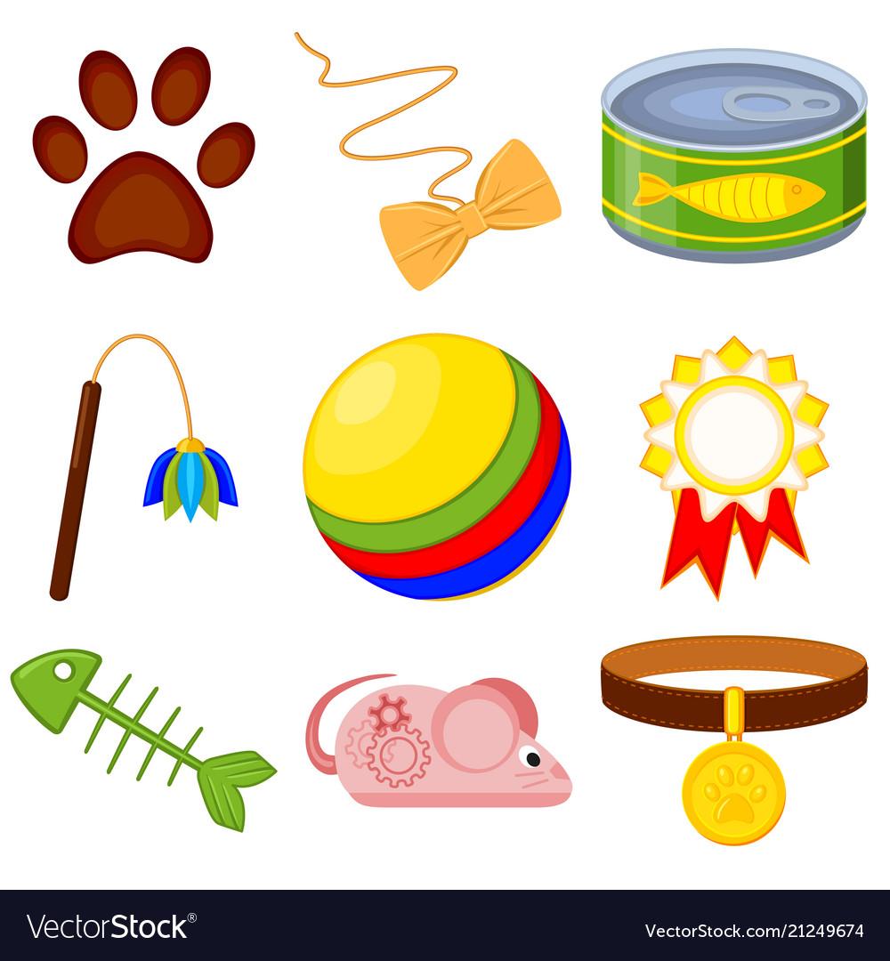 Colorful cartoon 9 cat care elements set