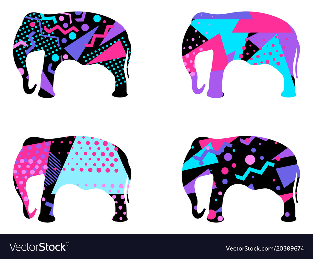 Elephant With A Pattern Of Geometric Shapes Vector Image