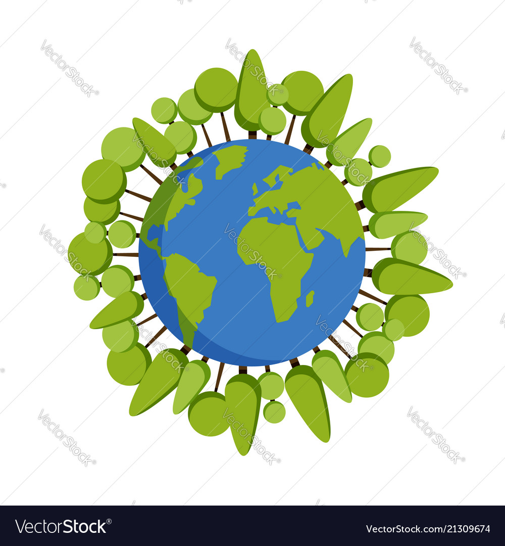 Green planet earth concept earth day world map vector image ccuart Image collections