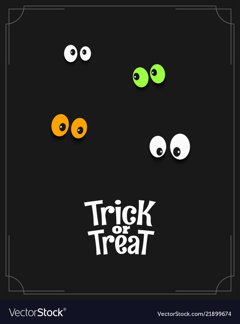 Halloween card with eyes and trick or treat