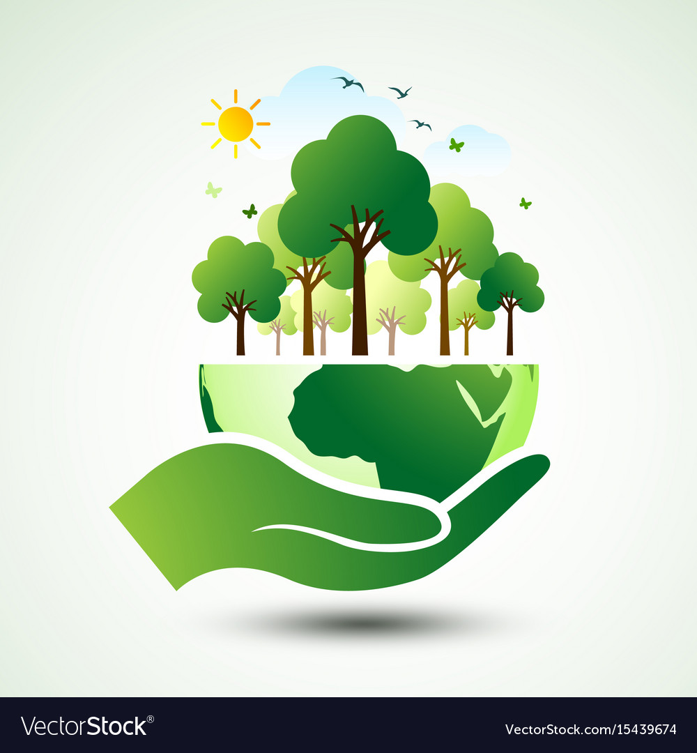 Hands earth vector image