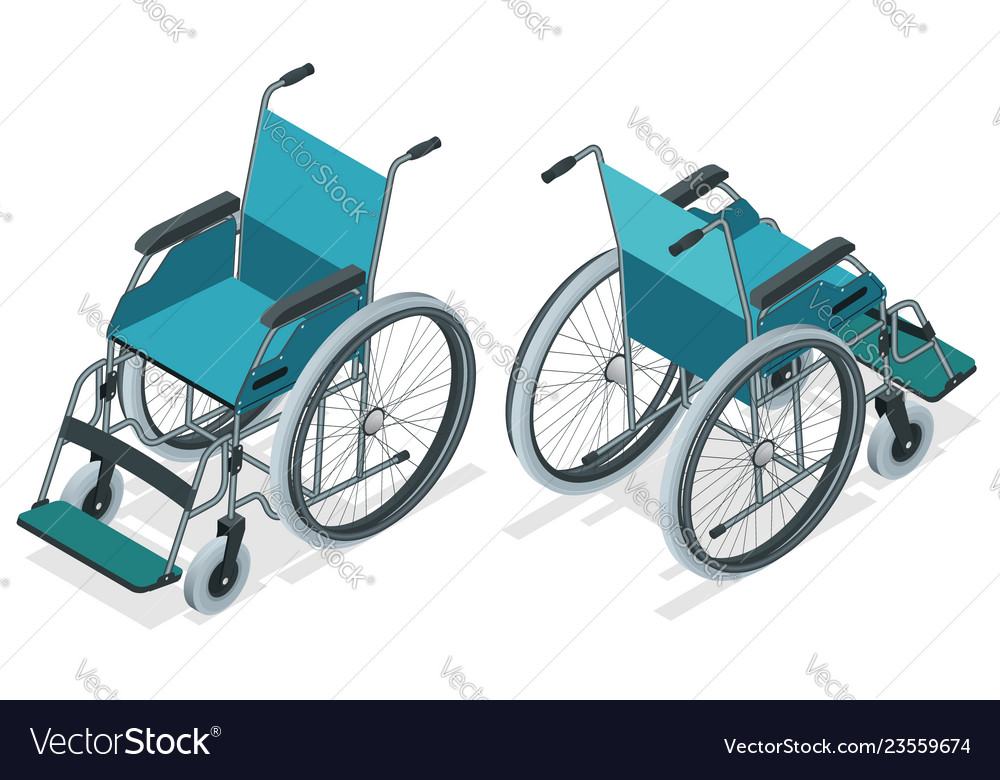 Isometric wheelchair isolated chair with wheels