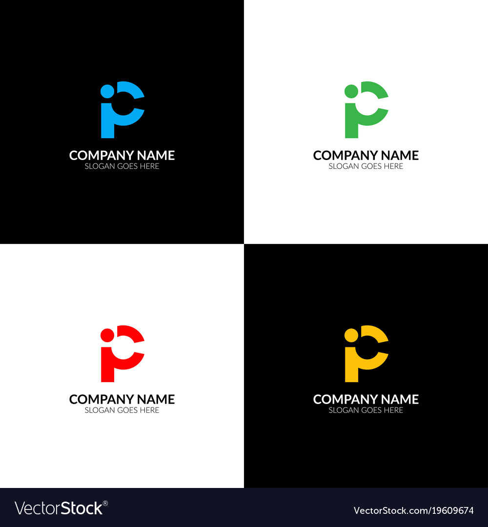 Letter p and i logo icon sign design