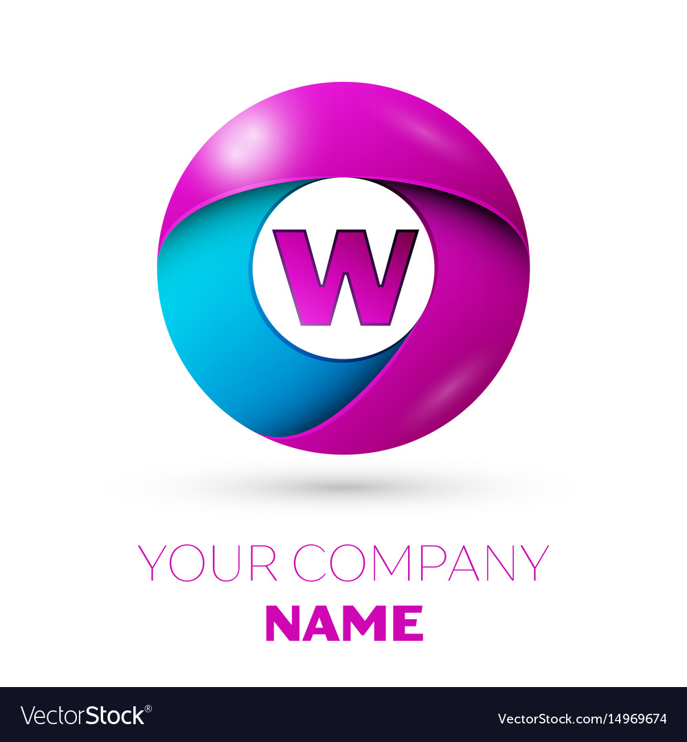 Letter w symbol in the colorful circle Royalty Free Vector