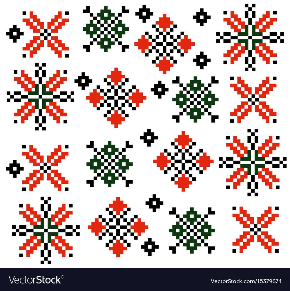 Moldovan romanian ethnic ornament pattern set vector image