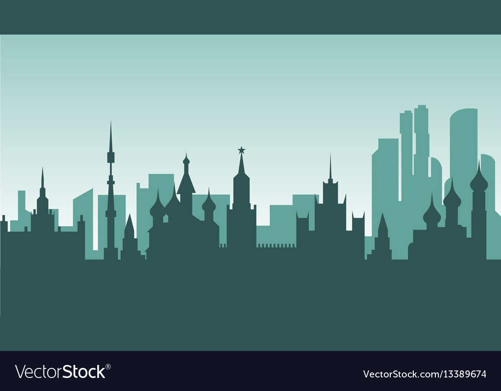 Russia silhouette architecture buildings town city vector image