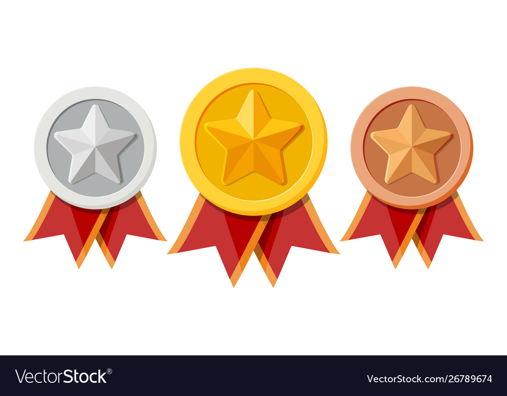 Set medals with red ribbons and star shapes