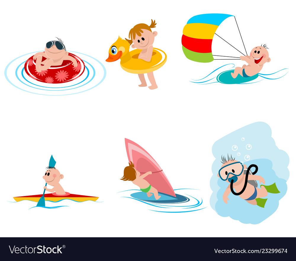 Six children on water