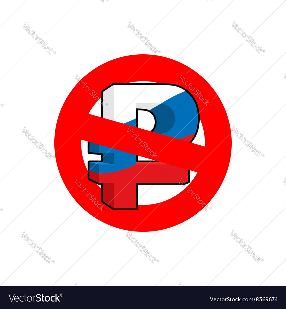 Stop ruble Red forbidding sign for mark ruble Ban