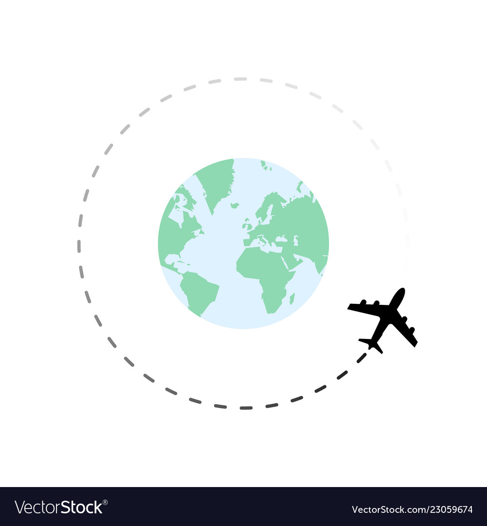 Travel route around globe with airplane