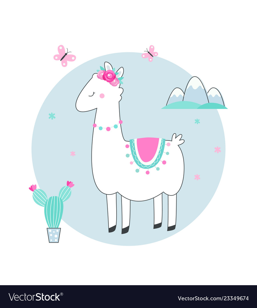 White llama or alpaca with cacti flowers and