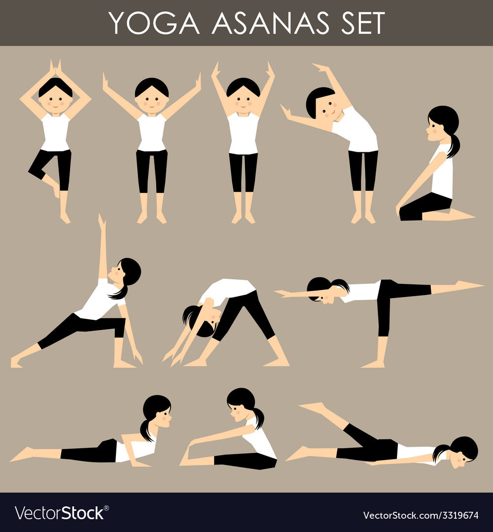 Yoga asanas set vector image