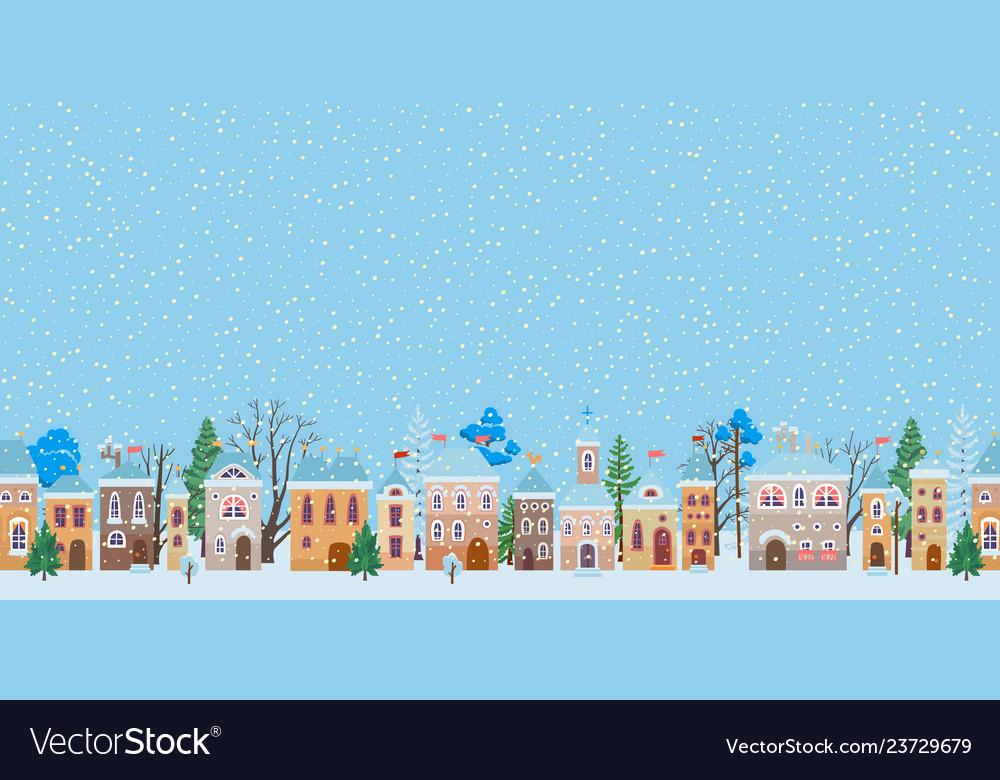 A snowy christmas street winter city panorama