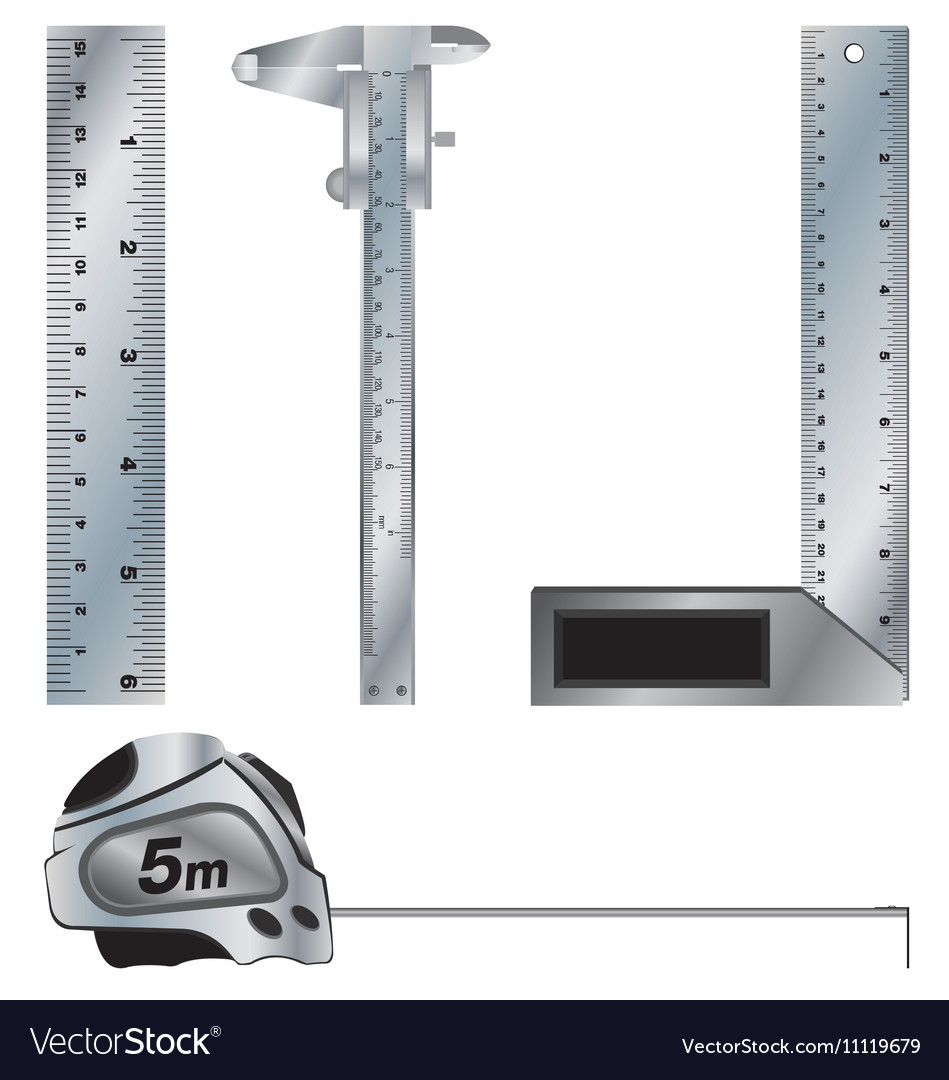 Angle and Vernier caliper Ruler and Tape measure vector image
