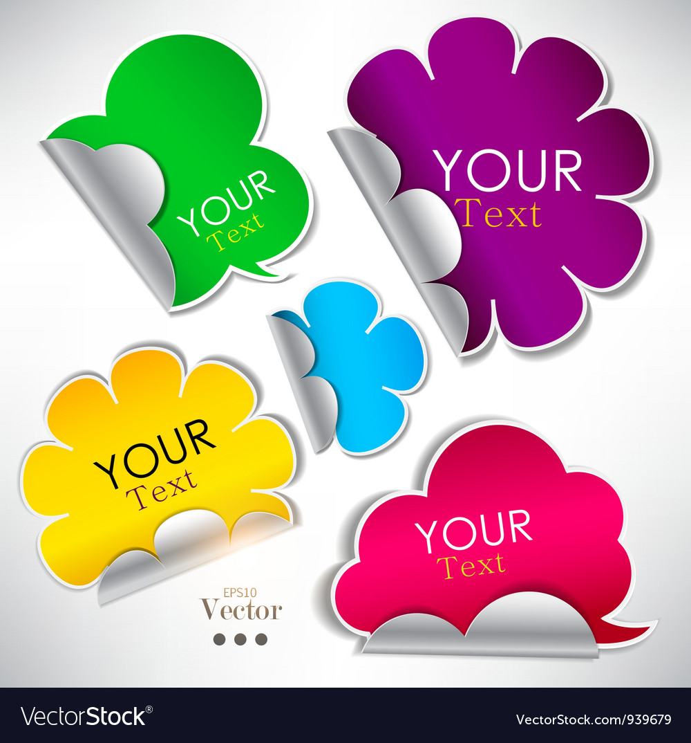 Colorful stickers and bubbles for speech vector image