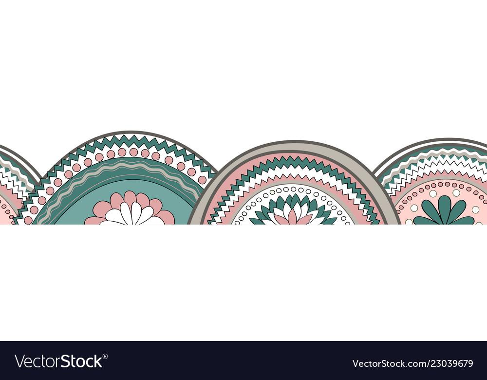 Doodle circle texture horizontal seamless pattern