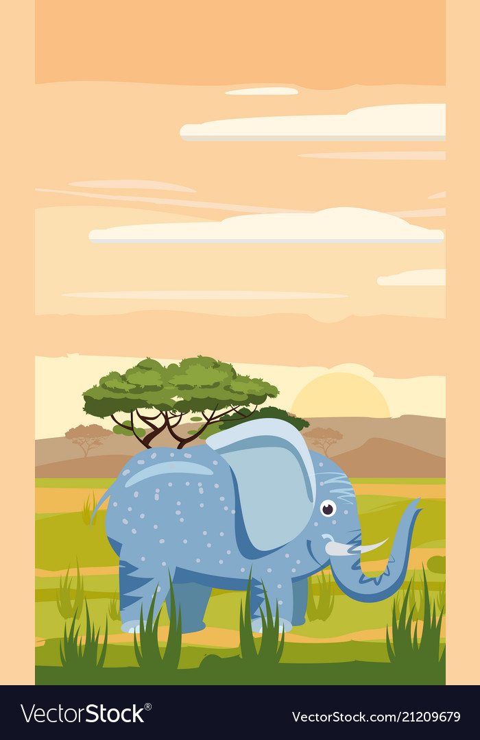 Elephant cute cartoon style in background savannah