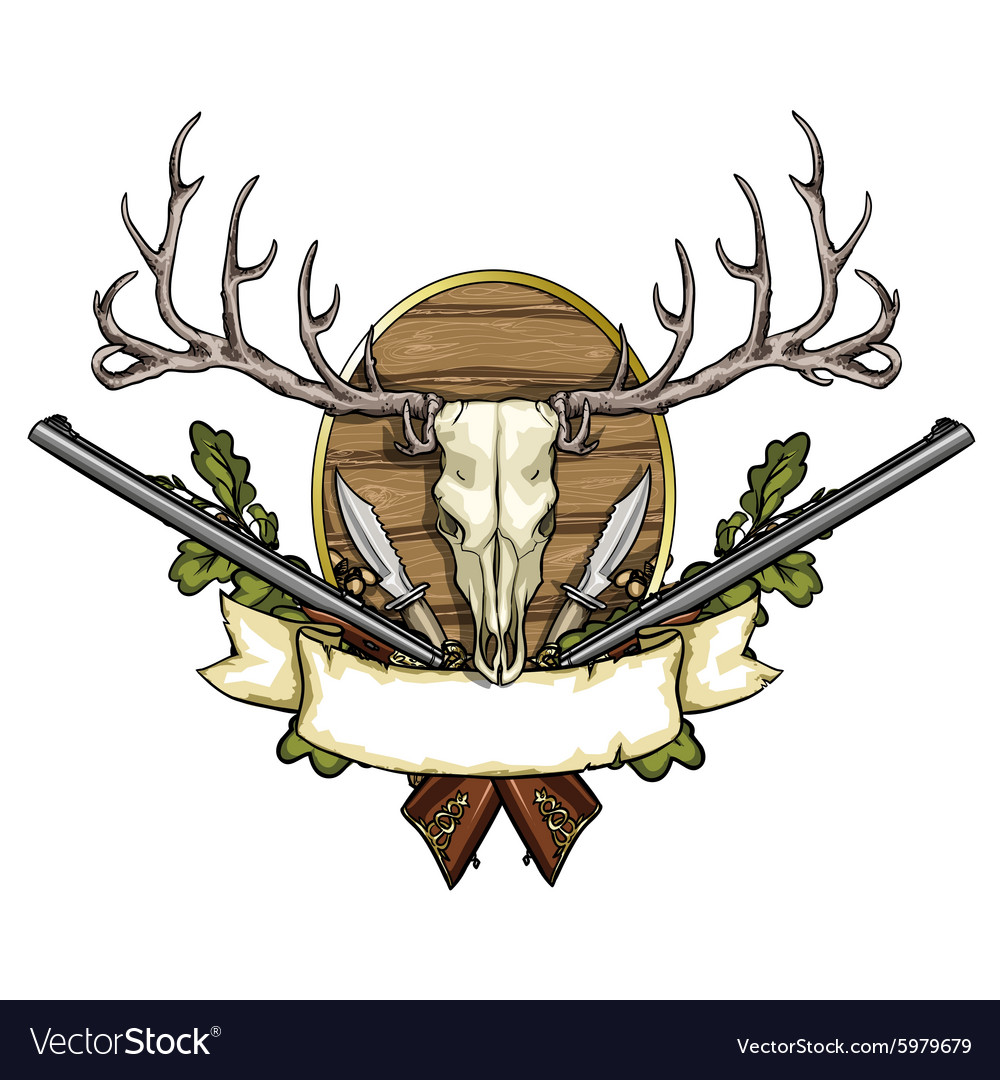 Hunting label vector image