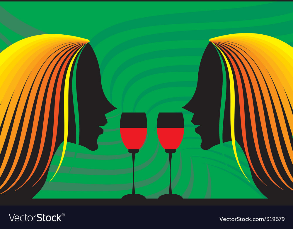 Ladies and wine vector image