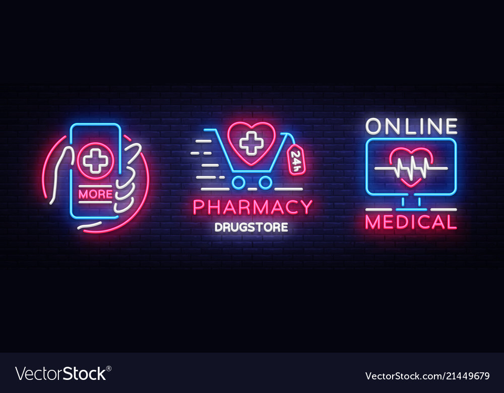 Medical neon sign collection pharmacy