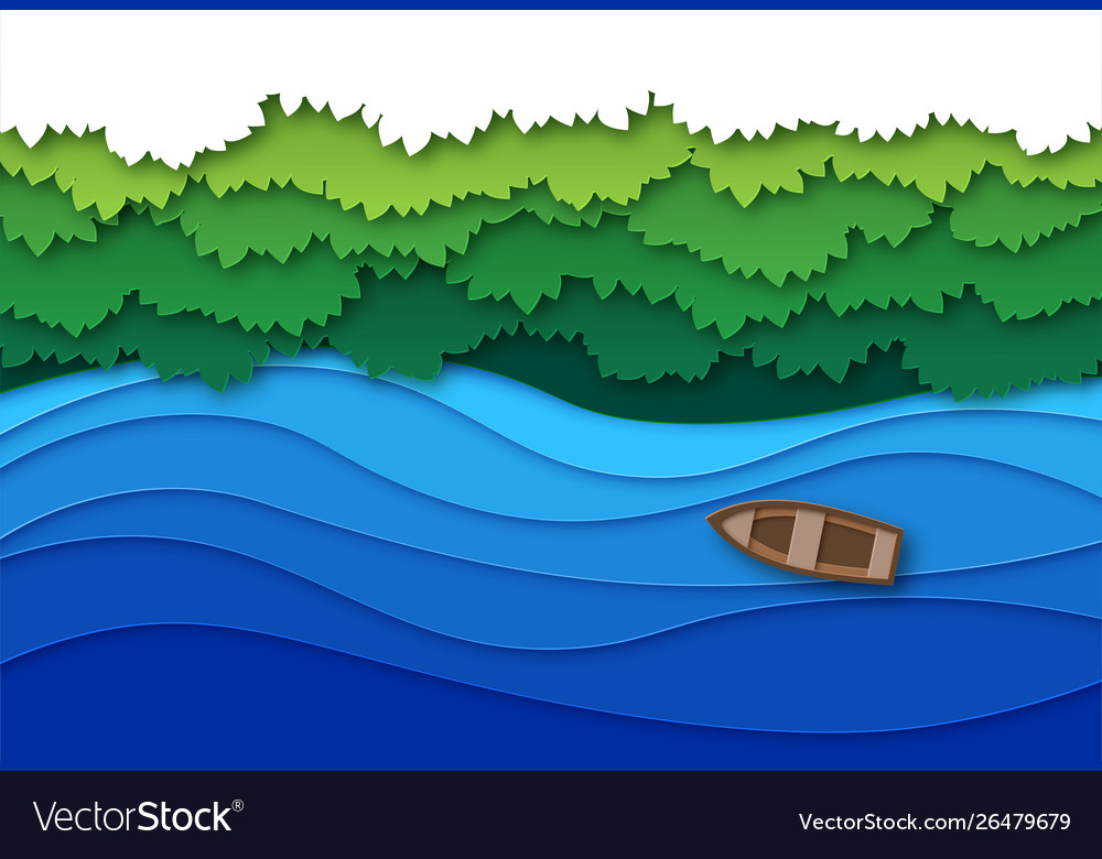 Paper cut river top view water stream and green