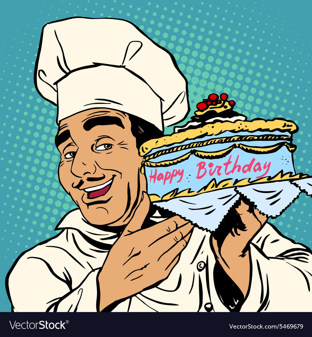 Superb Pastry Chef With Birthday Cake Royalty Free Vector Image Birthday Cards Printable Benkemecafe Filternl