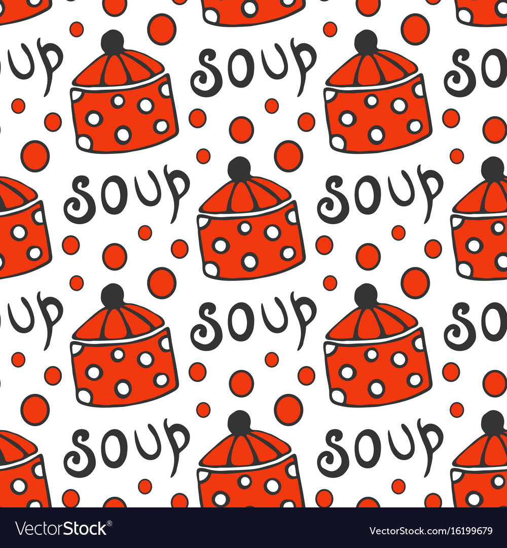 Seamless pattern with retro pots background for