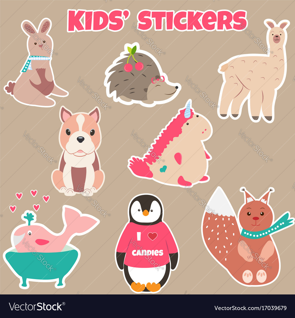Set of cute kids stickers with different animals