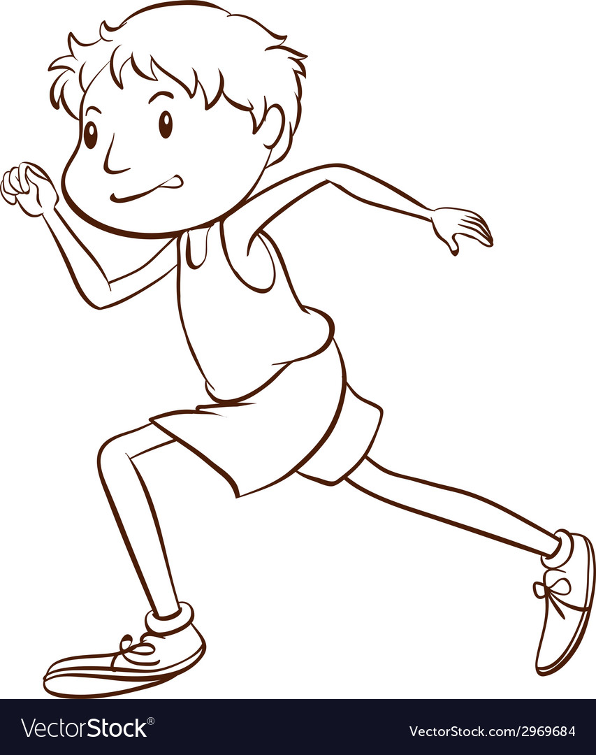 A simple sketch of a man running vector image