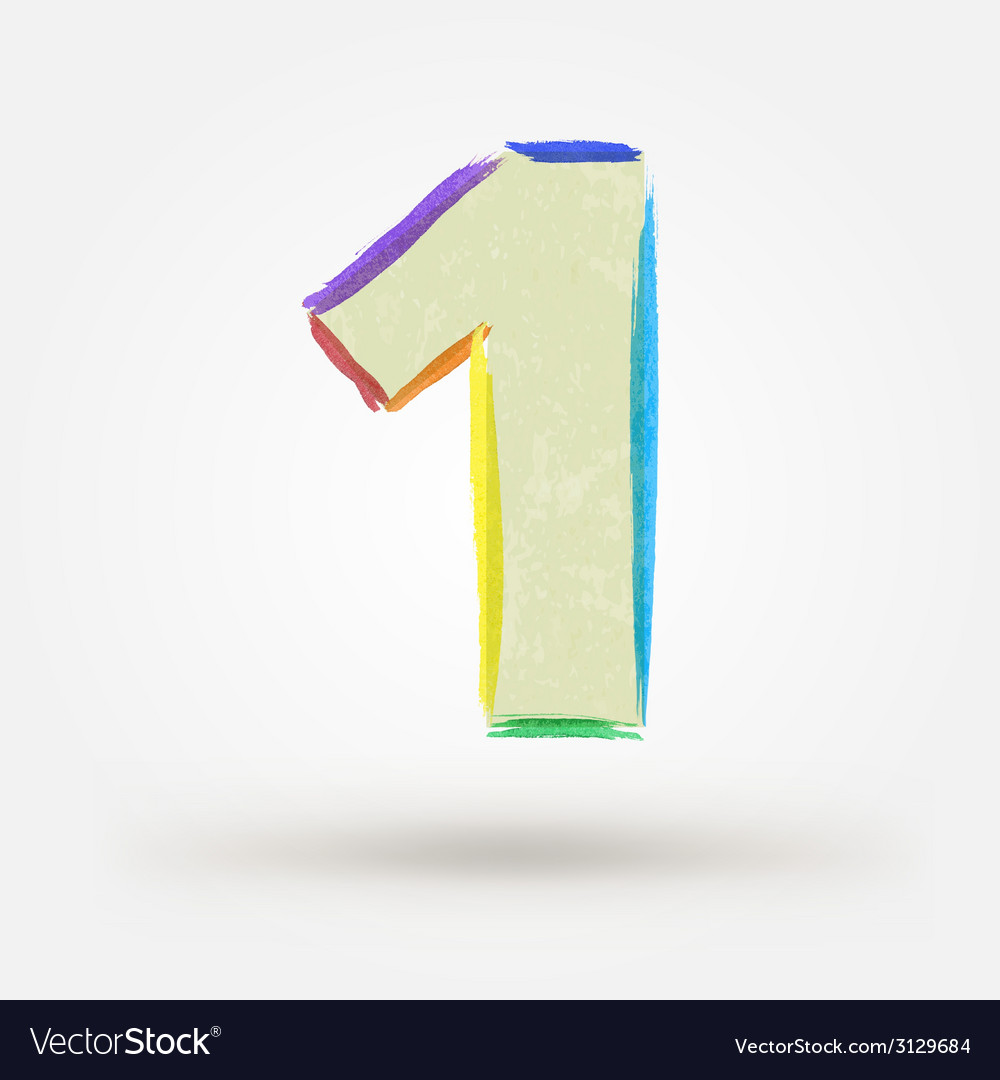 Alphabet letter number one Watercolor paint design
