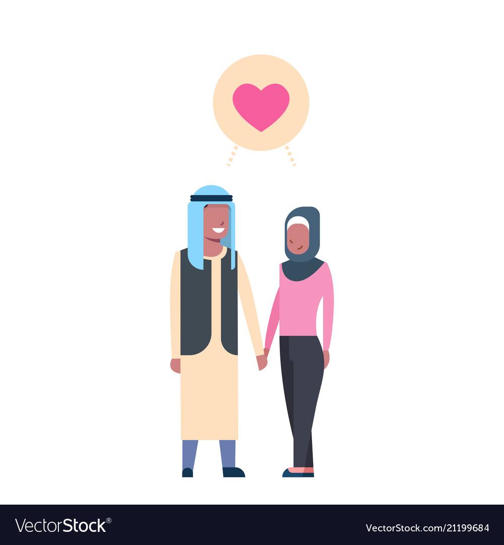Arab couple in love full length avatar on white